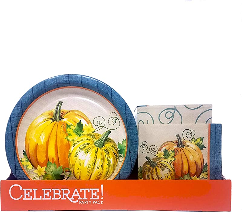 Disposable Plates And Napkins Party Pack Serves 50 Guests Pumpkins And Vines Thanksgiving Dinner Luncheon Napkins In Elegant Fall Design For Autumn Tableware Set