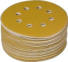 Powertec 44015G-50 - Discos de lija con gancho y bucle (8 agujeros, 12,7 cm, 50 unidades), color dorado