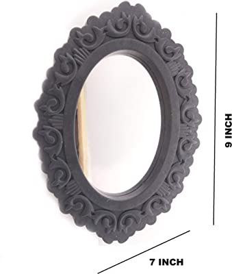Zahab Decorative Wall Mirror for Living Room Set of 3 Black 9 x 7 inch