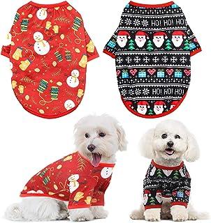 HYLYUN Dog Christmas Shirt 2 Packs - Christmas Pet Shirt Soft Breathable Puppy Shirts Printed Pet Clothing for Small Dogs ...