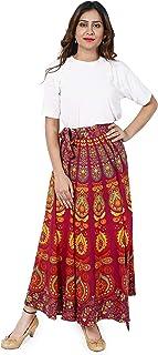 Handicraft-Palace Peacock Mandala Printed Women's Skirts Regular Fit Rapron Free Size Wrap Around (Red)