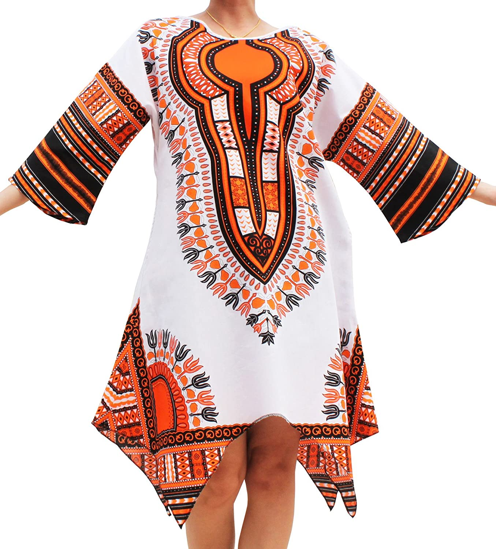 RaanPahMuang Brand Afrikan Dashiki Sac Dress Pointed Arrow Hem Pockets White