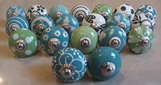 JGARTS 20 Green & White Cream Ceramic Pottery Door knobs Cabinet Handle Cupboard Pulls Drawer Puller knob