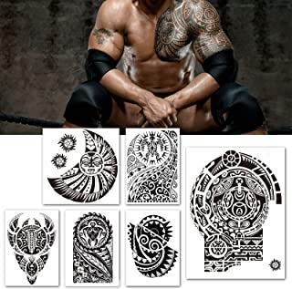 Leoars Extra Large Temporary Tattoo Similar the Rock Arm Chest Big Totem Body Tattoos Sticker Tribal Fake Black Tattoo for Men Women Makeup Waterproof, 6-Sheet