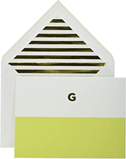 Kate Spade Dipped Initial Fold over Notes, G, Bright green (1740G)