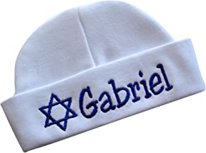 Embroidered Baby Boy Hat Personalized Keepsake Custom Infant Hat for Jewish Baby Boys with STAR OF DAVID and CUSTOM NAME