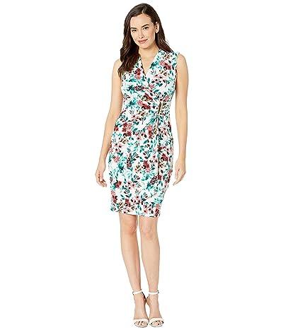 Calvin Klein Floral Faux Wrap Jersey Dress w/ Side Tab (Jungle Multi) Women
