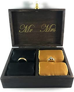 Strickland Home Decor A Match Made in Heaven Mr. and Mrs. Decorative Wooden Ring Box | Engagement Ring Box | Ring Bearer Box | Ring Display Case | Ring Box for Wedding Ceremony | Mr. & Mrs. Favor Gift