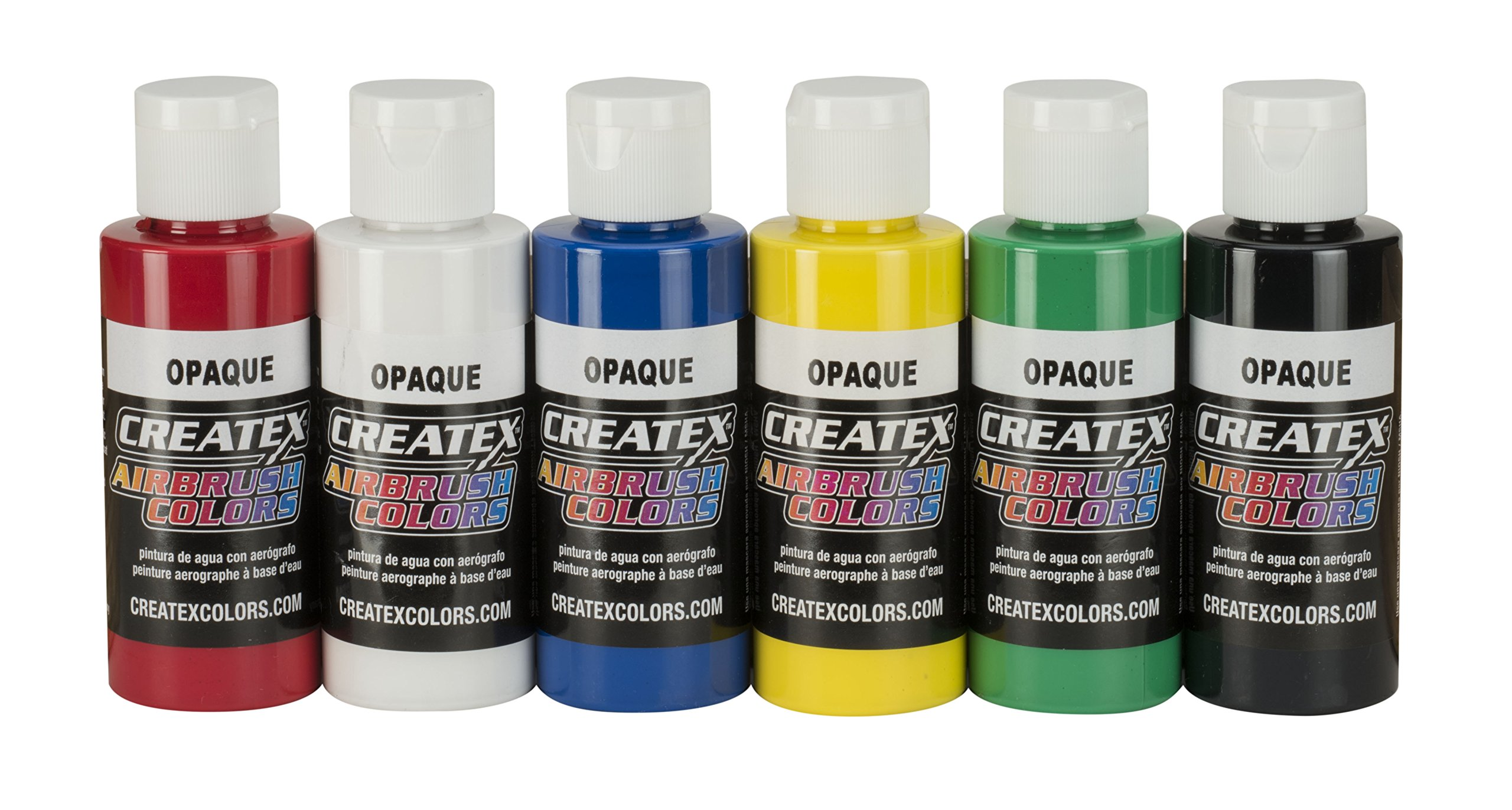 Createx Colors 5803-00 2 oz Opaque Airbrush Paint Set, 2 Ounce (Pack of 6), Multicolor, 12 Fl Oz