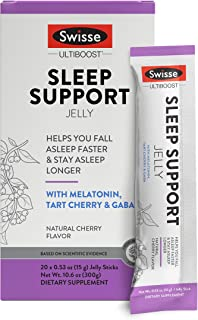 Swisse Ultiboost Sleep Support Jelly Sticks for Restful Sleep & Relaxation | Drug-Free with Melatonin, GABA, Tart Cherry |...