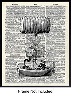 Vintage Airship Unframed Dictionary Photo Wall Art Print - Retro Modern Home Decor for Living Rooms, Bedrooms and more - Makes a Perfect Affordable Gift - Steampunk Chic - Ready to Frame (8x10)