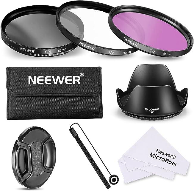 Neewer Filtro de 55 mm de la Lente Kit de Accesorios para Canon Nikon Sony Samsung Fujifilm Pentax: UV/CPL/FLD Filtro la Bolsa la Capilla de Lente Tapa del Objetivo paño de Limpieza