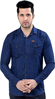 Private Image Meraki Double Pocket Full Sleeves Silky Denim Shirts for Mens