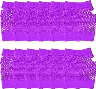 Syhood 12 Paar Nylon Fingerlose Fischnetz Handschuhe Neon Mesh Handschuhe 80er Jahre Party Handschuhe für Party Dressup Favors (Lila)