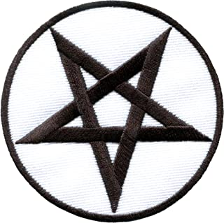Pentagram Pentacle Satanic Occult Goth Wicca Witch Black on White DIY Embroidered Applique Iron-on Patch S-1124
