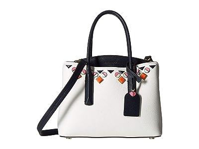 Kate Spade New York Margaux Jeweled Medium Satchel (Optic White) Handbags