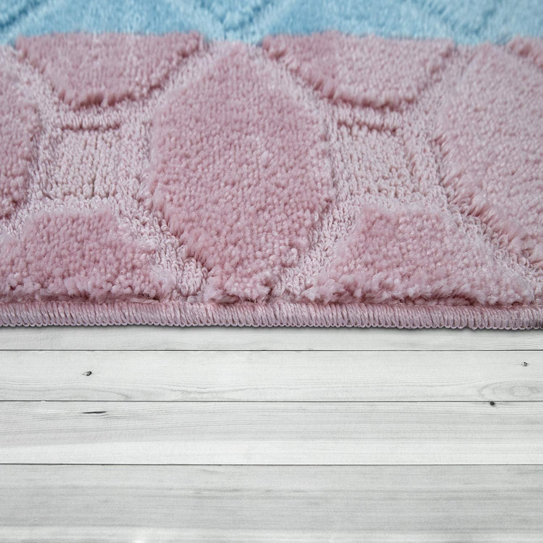 tama/ño:40x55 cm Alfombrilla Alfombra De Pelo Corto para Ba/ño Motivo Cuadros En Rosa Azul Pastel