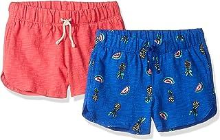 Amazon Brand - Spotted Zebra Girls' Toddler & Kids 2-Pack Knit Dolphin Hem Shorts