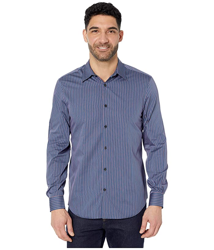 Perry Ellis  Twill Stripe Long Sleeve Button-Down Shirt (Star Sapphire) Mens Clothing