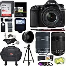 Canon EOS 80D Digital SLR Kit EF-S 18-135mm f/3.5-5.6 Image Stabilization USM & Canon EF-S 55-250mm Lens + Xit XT67WAB 67mm 0.43X Wide Angle Auxiliary Screw On Lens + Memory Cards + Accessory Bundle