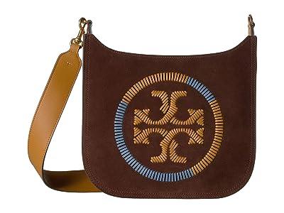 Tory Burch Ella Whipstitch Flat Crossbody (Iron) Handbags