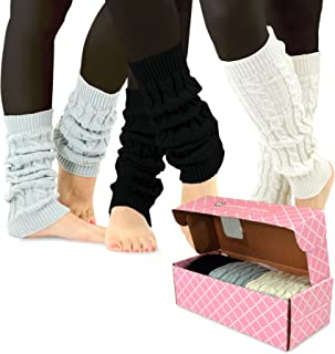 TeeHee Gift Box Women's Fashion Leg Warmers 3-Pack Assorted Colors