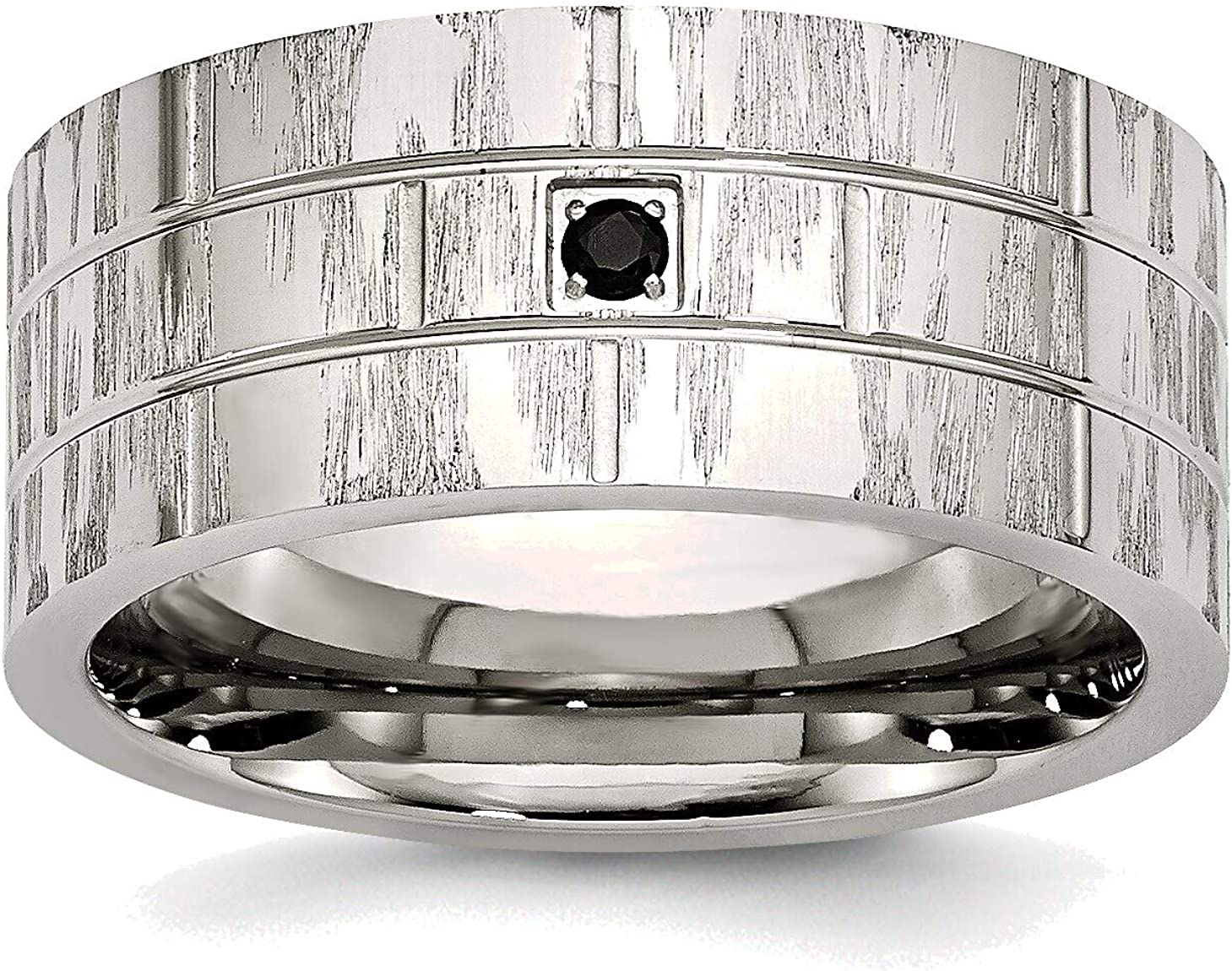 Bonyak Jewelry Stainless Steel Polished Satin Large discharge sale Black and CZ with Popular popular