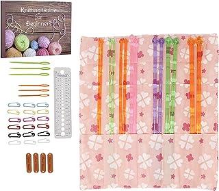Single Pointed Knitting Needles Set (7 Assorted Sizes) with Organizer Case + EBOOK+Gauze - Great Beginner Starter Kit- Bes...