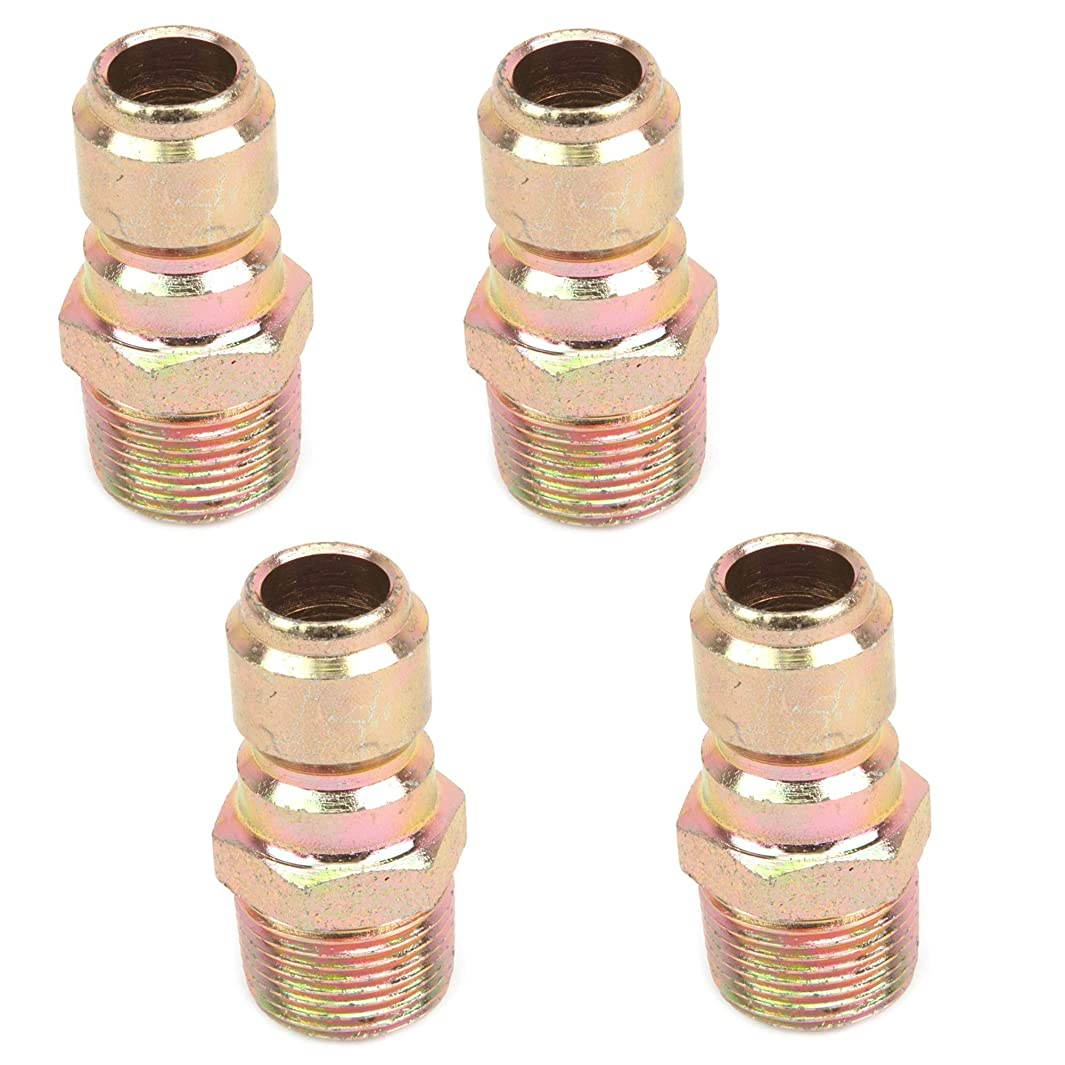Forney 75136 Pressure Washer Accessories, Quick Coupler Plug, 3/8-Inch Male NPT, 4,200 PSI, 4 Pack
