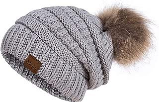 Alepo Winter Beanie Hat for Women, Real Fur Pom Pom Slouchy Chunky Knit Warm Fleece Lined Thermal Soft Ski Cap