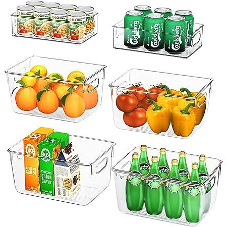 FINEW Ensemble de 6 organisateurs de réfrigérateur (4 Grands / 2 Petits), Bac de Rangement pour de Haute qualité, Organisateur de Rangement Transparent pour Cuisines, réfrigérateurs - sans BPA