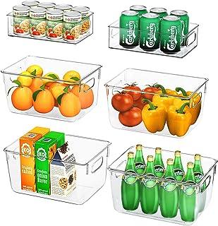 FINEW Ensemble de 6 organisateurs de réfrigérateur (4 Grands / 2 Petits), Bac de Rangement pour de Haute qualité, Organisa...