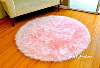 Faux Fur Baby Pink Nursery Round Shaggy Shag Area Rug Pink Ultra Suede Backing Faux Sheepskin (30