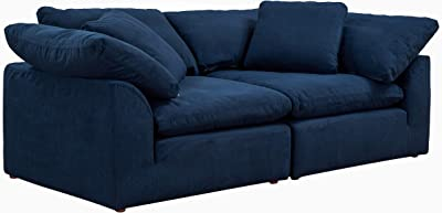 Sunset Trading Cloud Puff 2 Piece Slipcovered Modular Sectional Sofa | Large Loveseat | Performance Fabric | Navy Blue
