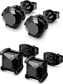 2 Pairs Stainless Steel Mens Womens CZ Stud Earrings Pierced Earrings Black 20G 3-8mm