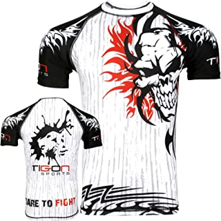 Tigon MMA Rash Guard Compression Base Layer Short Sleeve Men White