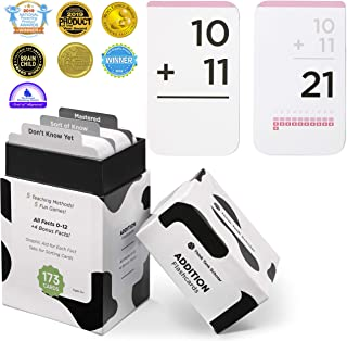 Think Tank Scholar 173 Addition Flash Cards | All Facts 0-12 Color Coded | Best for Kids in Kindergarten, 1st, 2nd, & 3rd Grade
