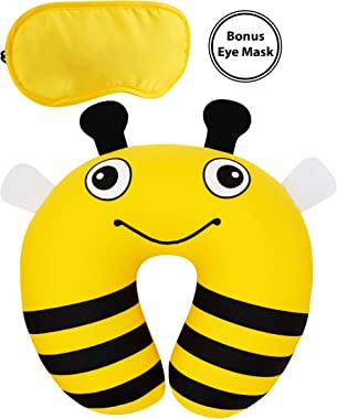PILLGOO Travel Pillow for Kids Toddlers with Eye Mask – U-Shape Soft Neck Support Pillow – Comfortable Travel Neck Pillow for Airplane Car Train Bus. – Perfect Infants Gifts, Yellow Black White, [Bee]