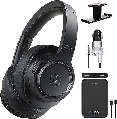 new arrival Audio Technica popular ATH-SR50BT Bluetooth Wireless Over-Ear Headphones, Black (ATH-SR50BTBK) Bundle with Blucoil 5000mAh Portable Power online Bank, Aluminum Headphone Hook, and USB Car Charger online sale