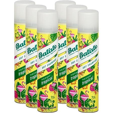 Batiste, shampoo a secco, con fragranza al cocco e tropicale esotico, per rinfrescare i capelli, per tutti i tipi di capelli, confezione da 6pezzi da 200ml