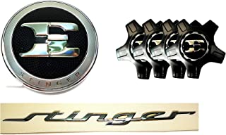 Kia E Logo Front Hood Emblem + 19inch Wheel Center Cap Cover 4EA + Stinger Lettering Emblem For 2017 2018 2019 Stinger