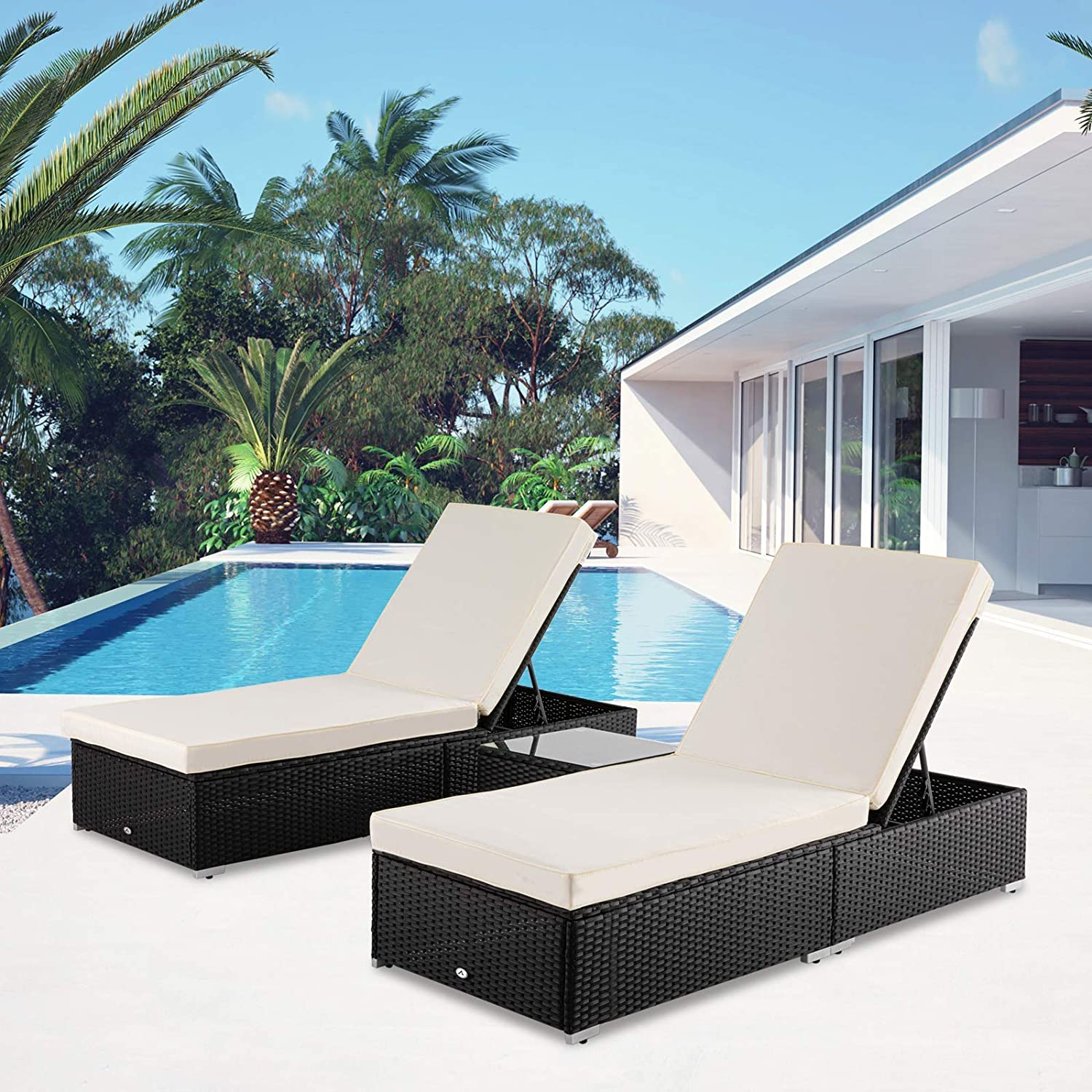 Apepro 3 Pieces Chaise Lounge Patio Furniture Set