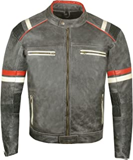 Men's Vintage Cafe Racer Motorcycle Distressed Leather Armor Biker Jacket M
