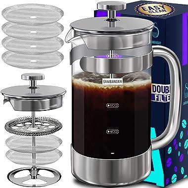 French Press Coffee Maker Coffee Press Large 34oz 1000ML Borosilicate Glass 18/10 Stainless Steel Dishwasher Safe Multi-Scree