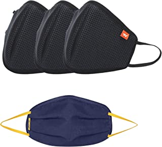Wildcraft Reusable Outdoor Mask (Combo Pack of 4: W95 X 3, Black and Torq X 1, Navy Blue), Large Size