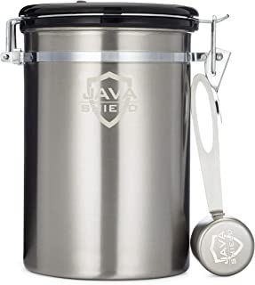 Java Shield Coffee Container – Airtight Canister with co2 Valve for Freshness – Large Stainless Steel Container with Scoop - Keep Beans and Ground Coffee Fresh Longer – Built-In Calendar Wheel