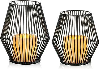 Sziqiqi Candelabro en Forma de Linterna Vela Juego de 2 Metal Portavelas de Columna Velas para Candelabros de Pilar Vint...