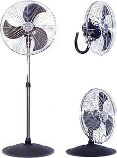 BRISA Ventilador Semi-Industrial de Pedestal Modelo PO-20, 3 En 1, 100% Metálico, Inclinación Ajustable, Oscilatorio, Moto...