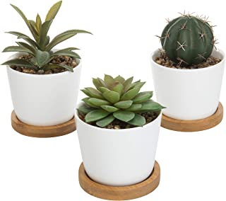MyGift Faux Ball Cactus & Echeveria Succulent Plants in White Ceramic Pots with Bamboo Saucers, Set of 3 (Assortment 5)