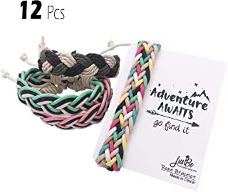 justBe 12 Pack Handmade Braided Woven Friendship Bracelet Camping Party Favor Gifts Individual Package for Girls Boys Teens